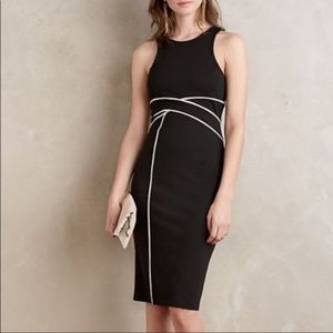 Maeve Cavatina Black and White Midi Sheath Dress